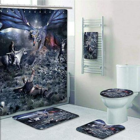 PRTAU Fantasy Dragon Fighting with Medieval Knights War Scene in Gothic Fiction Dark 5 Piece Bathroom Set Shower Curtain Bath Towel Bath Rug Contour Mat and Toilet Lid