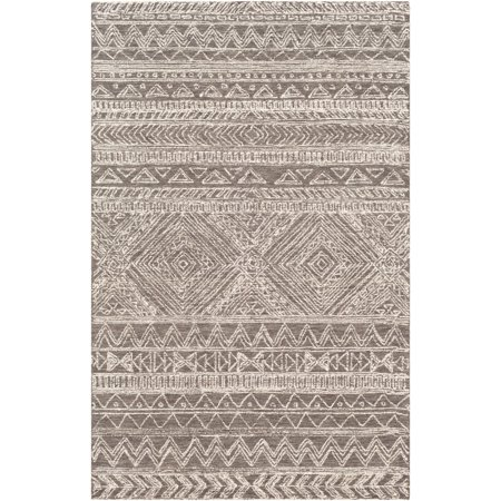 9' x 12' Tribal Charcoal Brown and Cream White Rectangular Area Throw Rug ()