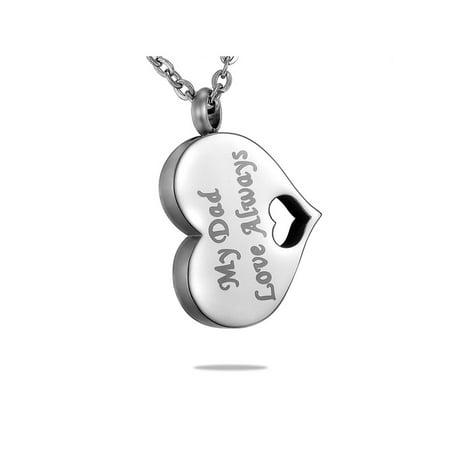 NEW My Dad Love Always Heart Cremation Jewelry Keepsake Ash Urn Holder Necklace