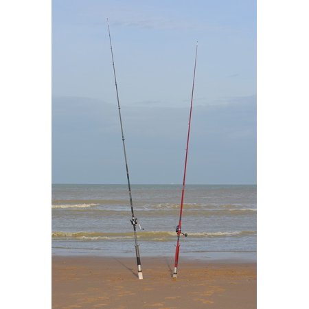Canvas Print Fishing Rod Beach Waves Sea Water Stretched Canvas 10