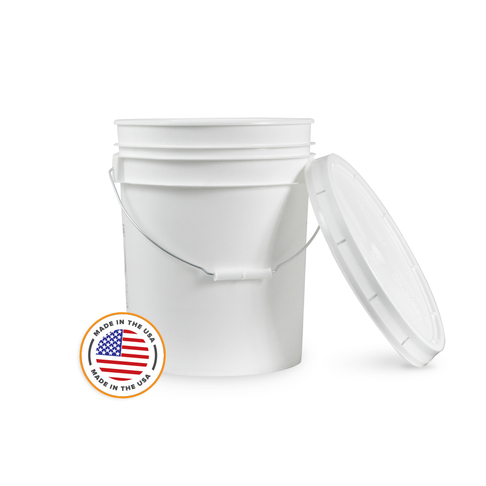 5 Gallon White Bucket Amp Lid Set Of 1 Durable 90 Mil