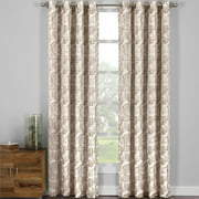 Pair (Set of 2) Catalina Leaf Swirl Jacquard Curtain Panels With Grommets - 108x108 - Brown