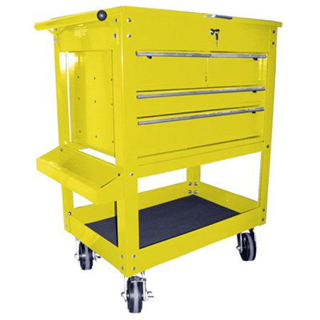 K Tool 75143 Metal Utility Cart, Yellow, 4 Drawers with Locking Cover, 5