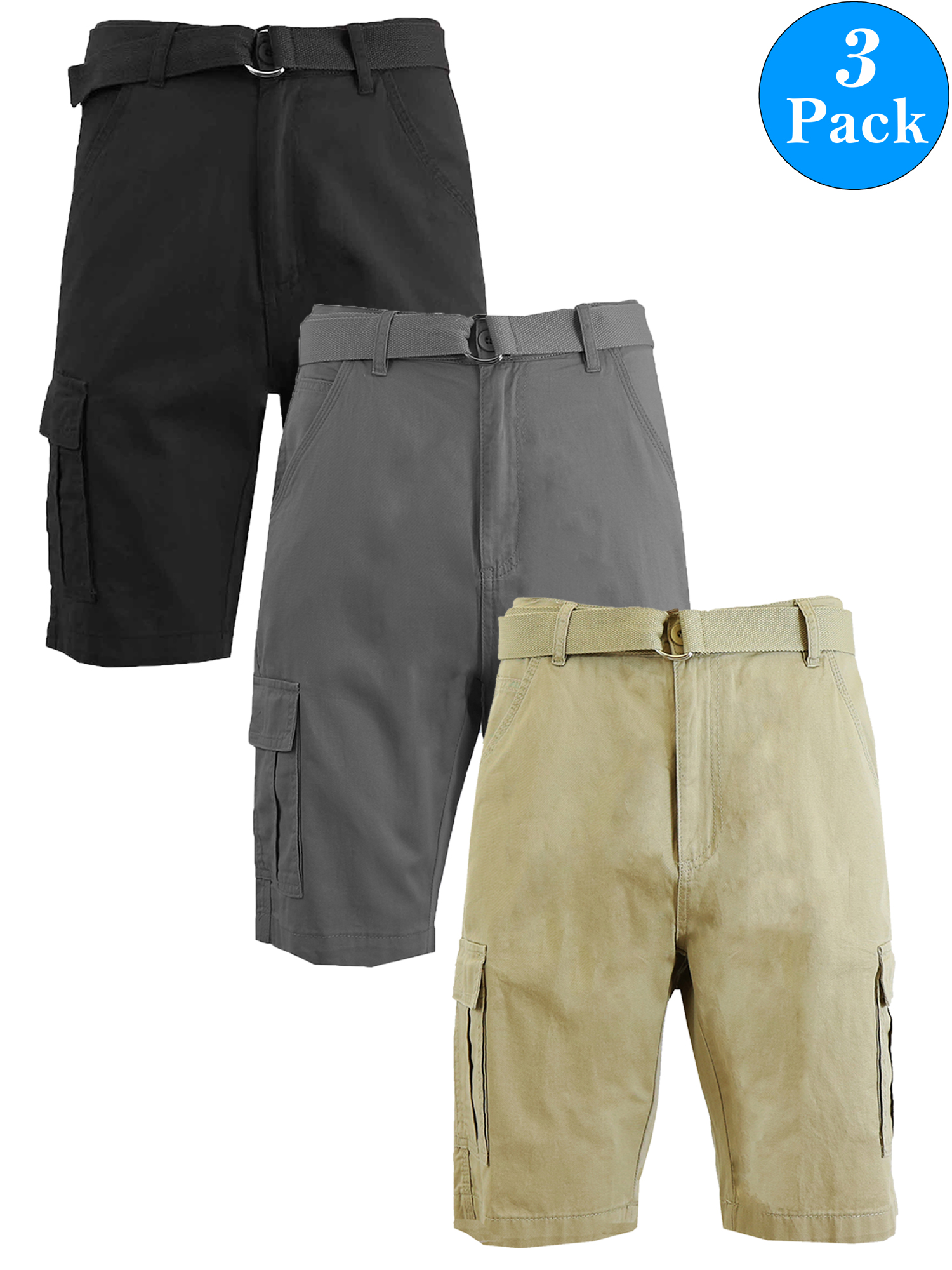 Men's Belted Cotton Cargo Shorts (3-Pack)