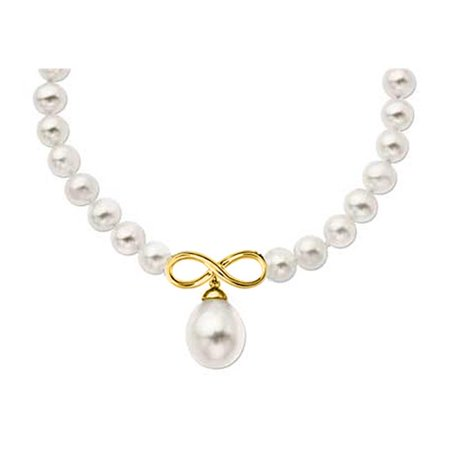 Fine Jewelry Vault UBNKPD3039Y14FWWH Infinity Symbol with 8MM Cultured Freshwater Pearl Necklace in 14K Yellow Gold 17 in. (Vault Symbol)