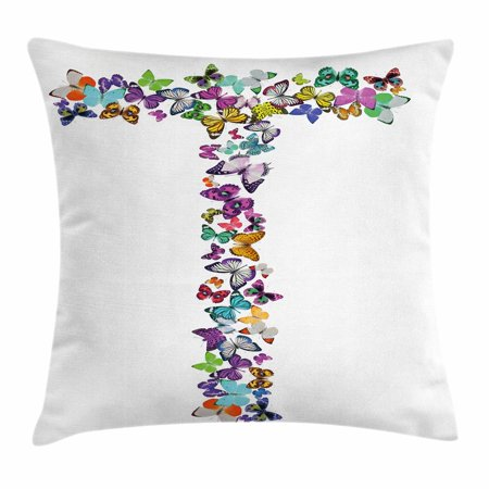 Letter T Throw Pillow Cushion Cover, Language of the Springtime Themed Alphabet Design with Butterflies and Letter T, Decorative Square Accent Pillow Case, 18 X 18 Inches, Multicolor, by Ambesonne