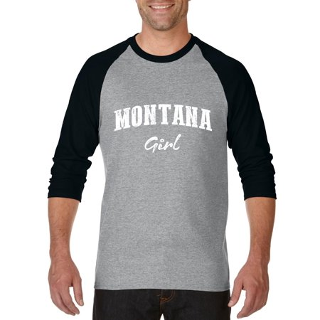 Mt Girl Montana Flag Billings Map Bobcats Grizzlies Home University Of Montana Womens Raglan Sleeve Baseball T Shirt