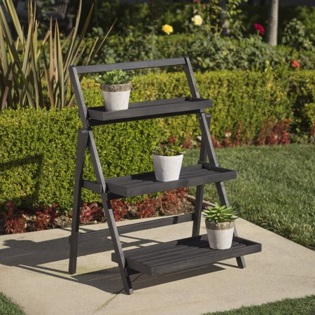 Noble House Meredith Outdoor Acacia Wood Plant Stand, Dark Grey