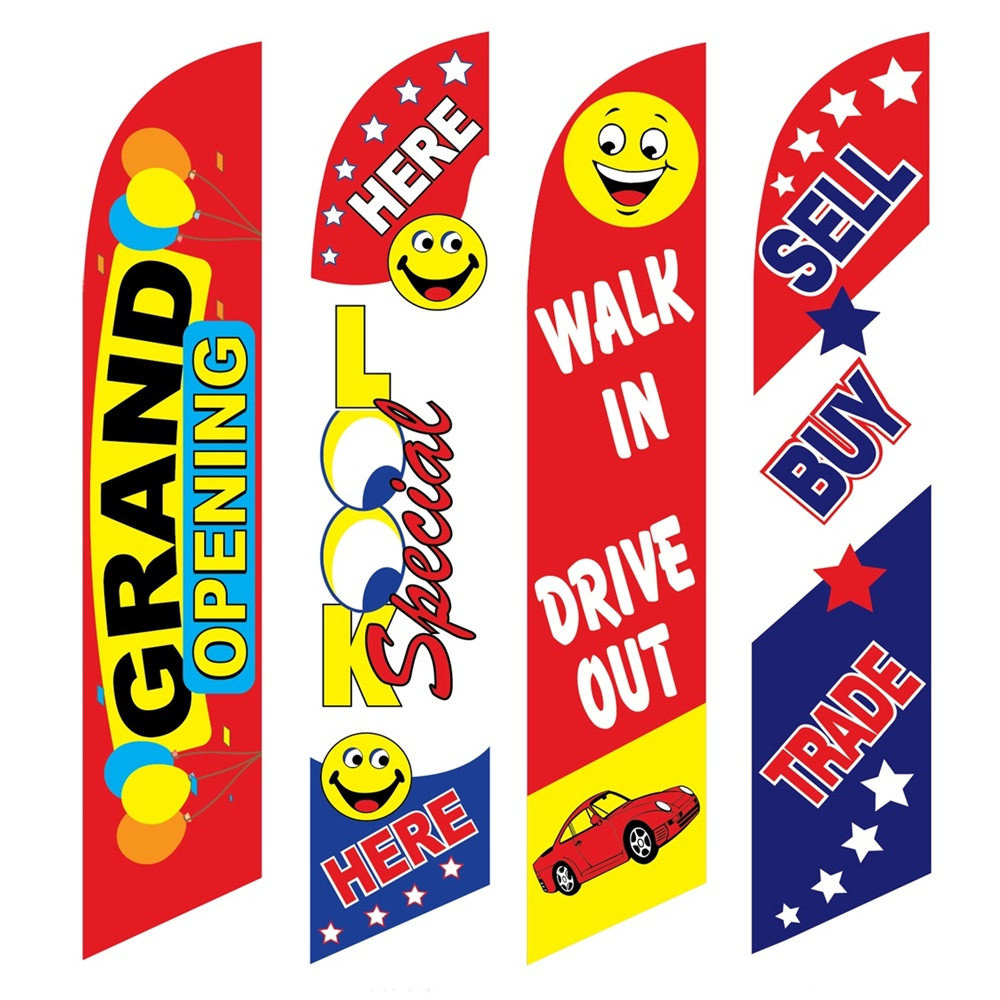 4 Advertising Swooper Flags Grand Opening Look Drive Out Sell Buy Trade