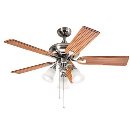 Aztec Lighting Kichler Lighting Transitional Brushed Nickel 52 inch Ceiling Fan with 3-light Kit and Carved Wood Blades
