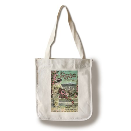Portland, Oregon - Fifth Annual Rose Festival - Vintage Advertisement (100% Cotton Tote Bag - Reusable) (Halloween Festivals Portland Oregon)