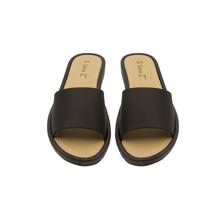 Reef Rubber Sole Sandals - Sara Z Womens Slides Slippers Solid Sole Open Toe Slip On Flat Sandals