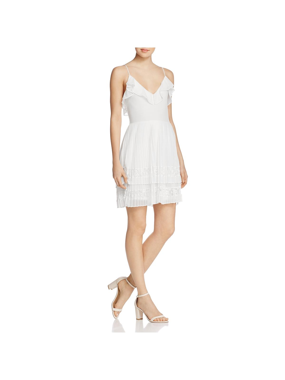French Connection Womens Adanna Chiffon Lace Cocktail Dress