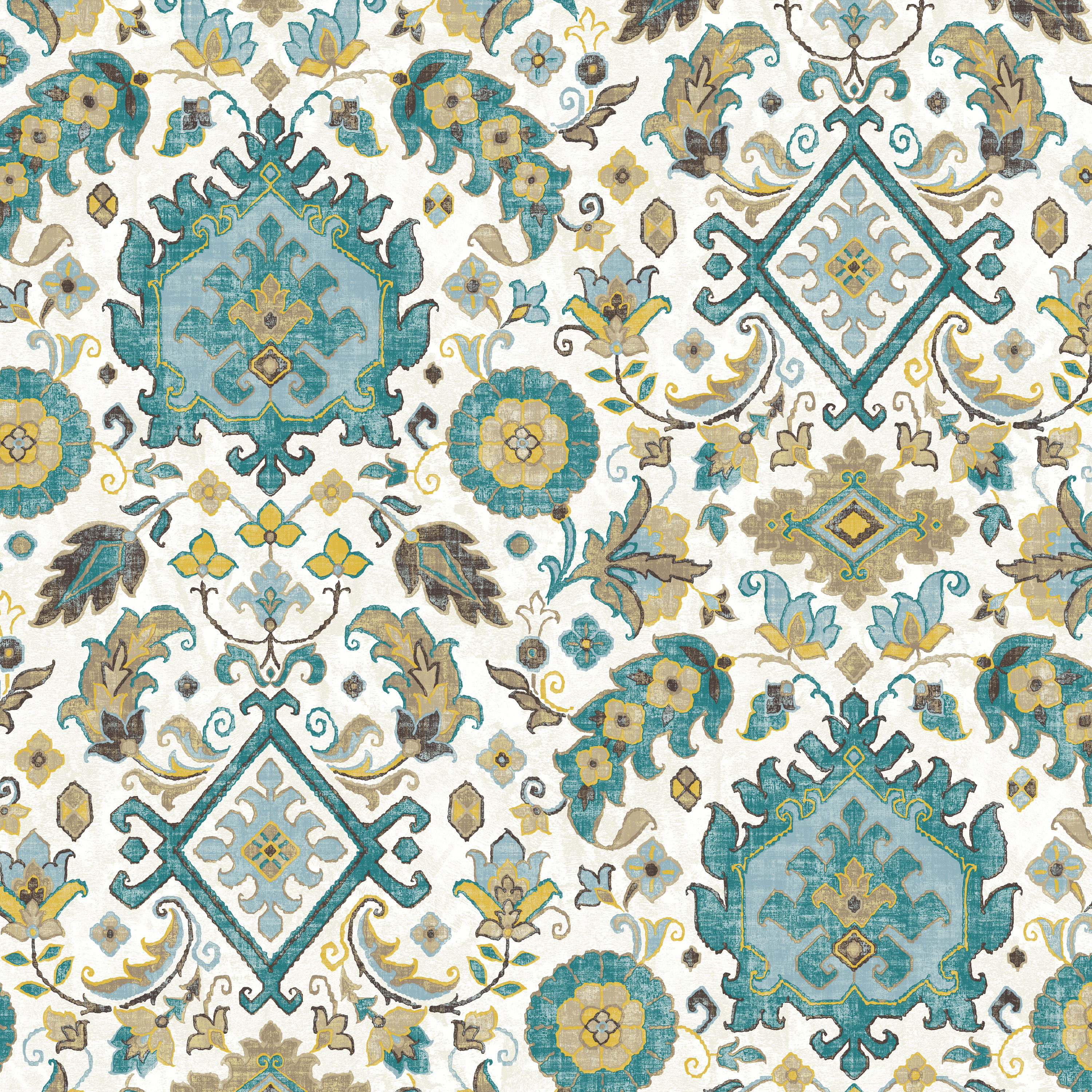 Waverly Inspirations Dhurrie Teal 100% Cotton Duck Fabric Quilt Crafts, per Yard