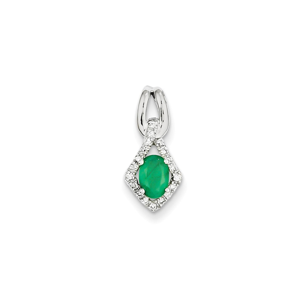 14k White Gold Prong Set Diamond & Emerald Pendant