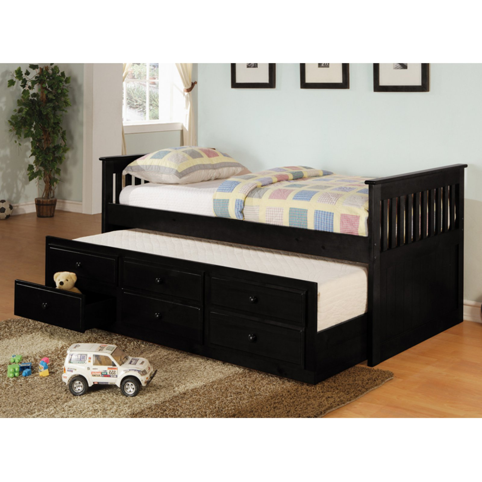 Coaster Furniture La Salle Twin Captains Bed with Trundle and Storage Drawers  sc 1 st  Walmart & Trundle Beds with Storage