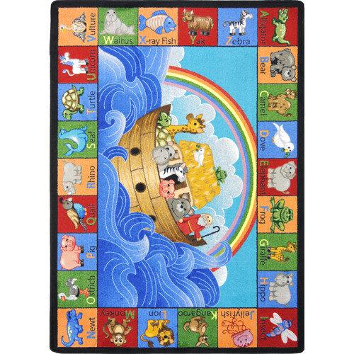 Joy Carpets Educational Faith Based Noah's Alphabet Animals Area Rug