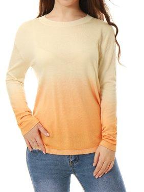 Women's Crew Neck Jersey Dip Dye Sweater Beige (Size XL)