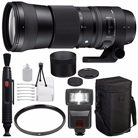 Sigma 150-600mm f/5-6.3 DG OS HSM Contemporary Lens for Canon EF + 95mm UV Filter + Deluxe Cleaning Kit + Lens Cleaning Pen + External Flash Bundle...International