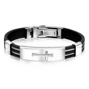Mens Stainless Steel and Rubber Sideways Cross ID Bracelet 8in