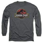 Jurassic Park - Stone Logo - Long Sleeve Shirt - Large