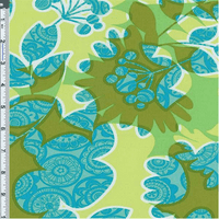 Green/Blue Floral Collage Cotton Twill Decorating Fabric, Fabric By the Yard