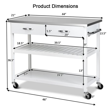 Stainless Steel Rolling Kitchen Trolley
