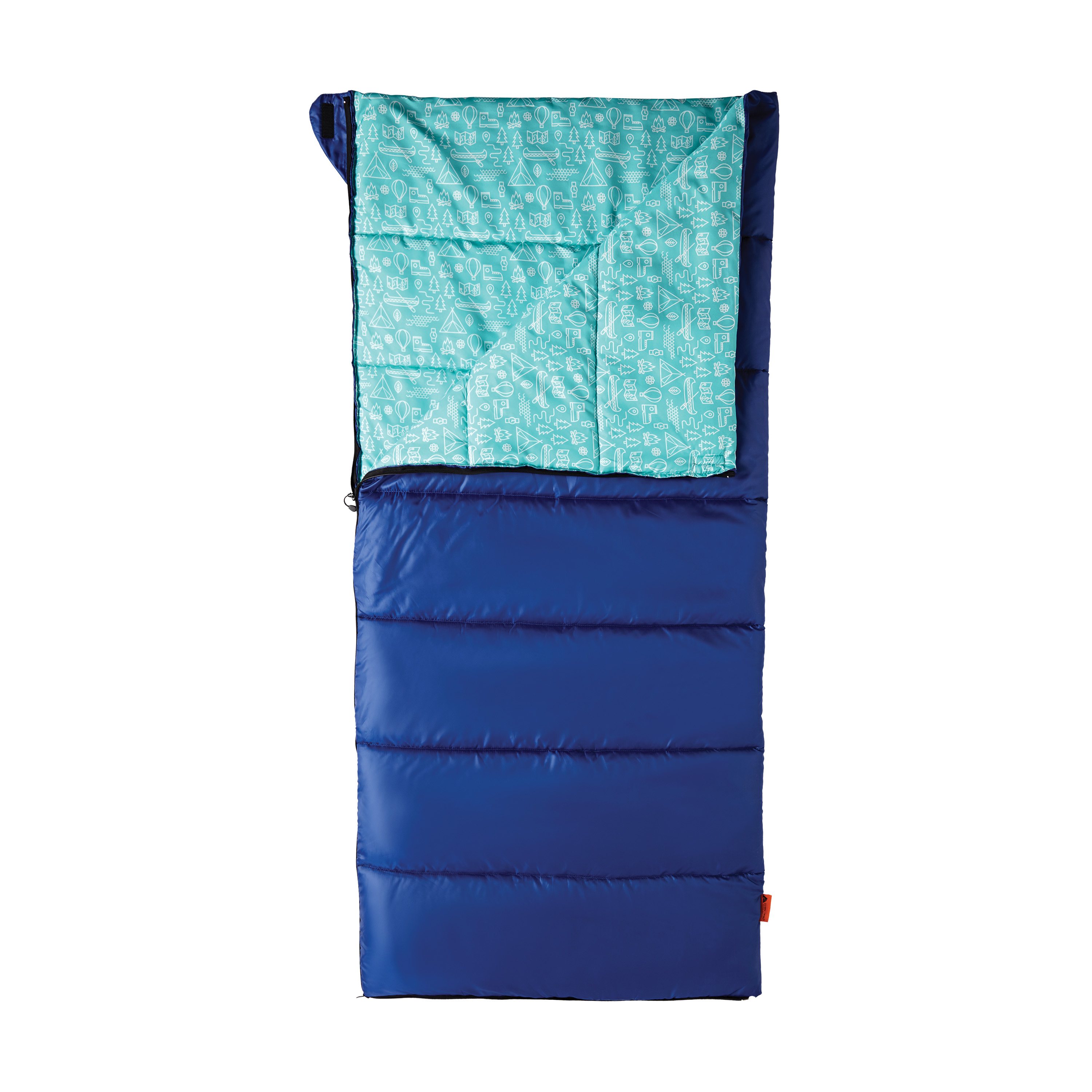 OZARK TRAIL YOUTH CAMP SLEEPING BAG - BLUE AND TEAL