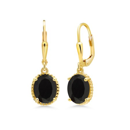 4.00 Ct Oval Black Onyx 18K Yellow Gold Plated Silver Earrings