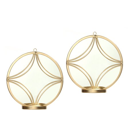 """Hosley 2 piece set Wall Gold Circle Sconce with Candle Holder - 8"""" Diameter  O5"""