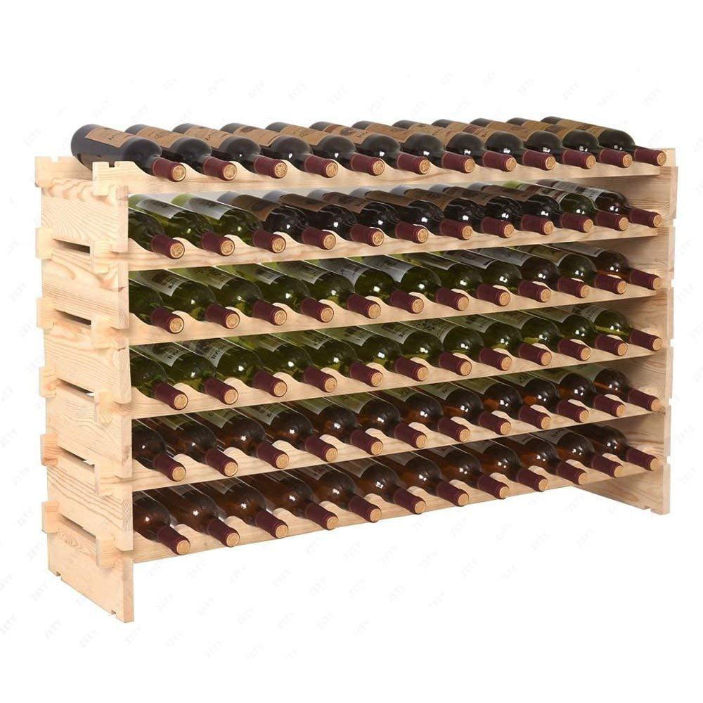 Zeny 72 Bottle Wood Wine Rack Stackable Storage 6 Tier Storage Display Shelves