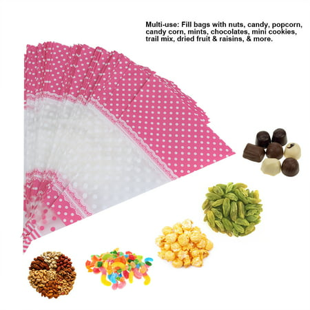 WALFRONT 50 Piece Clear Cone-Shaped Treat Popcorn Bags Treat Bags Cellophane Candy Bags with twist ties,Clear Bag, Cellophane Candy - Popcorn Cones