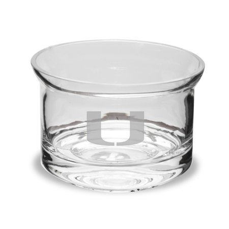 Miami Hurricanes 5 Inch Deep Etched Flair Crystal Candy (Hurricane Bowls)