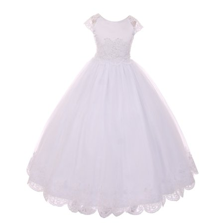Rain Kids Girls White Satin Lace Junior Bridesmaid Communion Dress - Communion Dress Sale