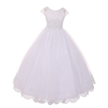 Children's Boutique Dresses (Rain Kids Girls White Satin Lace Junior Bridesmaid Communion)