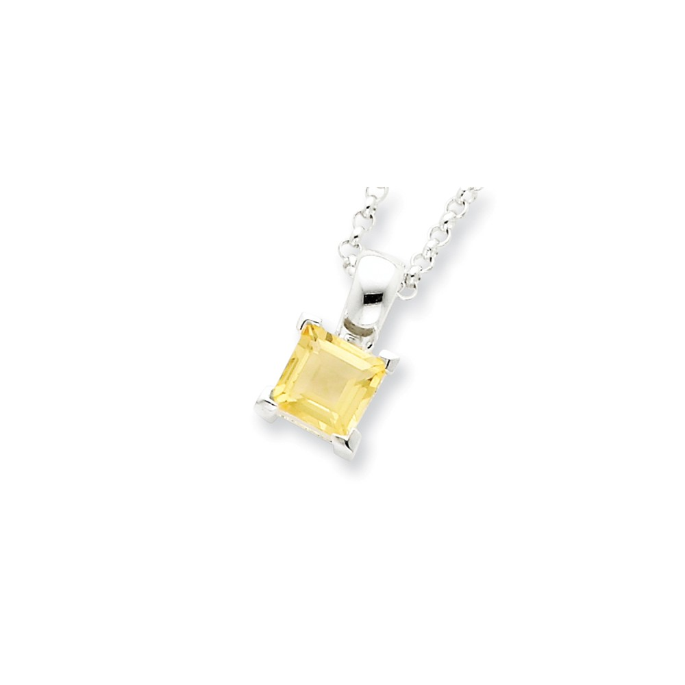 Sterling Silver 16in Citrine Pendant w/ Chain Necklace