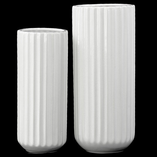 Urban Trends 2 Piece Tall Cylindrical Flower Vase Set