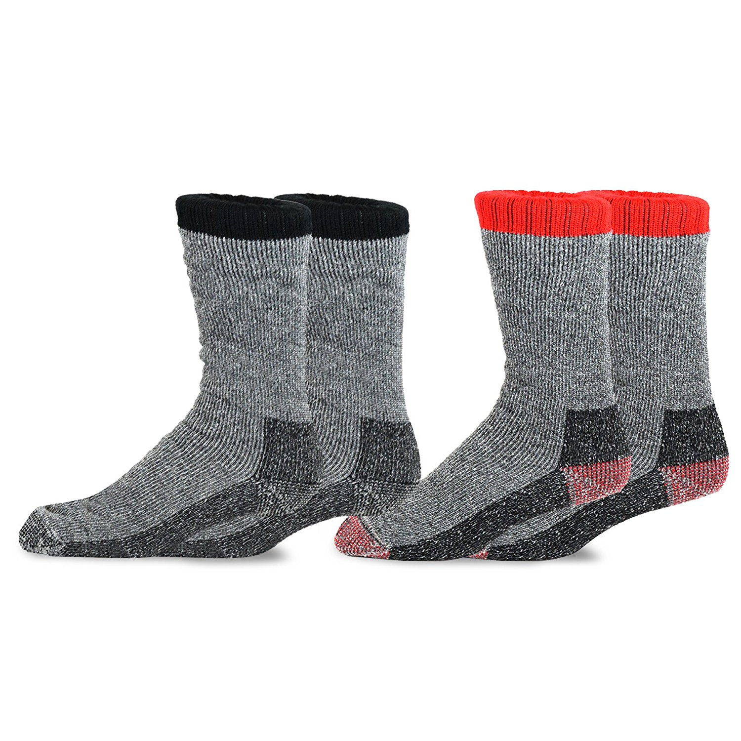 TeeHee Heavyweight Outdoor Wool Thermal Boot Socks for Men 2-Pack (Black and Red)