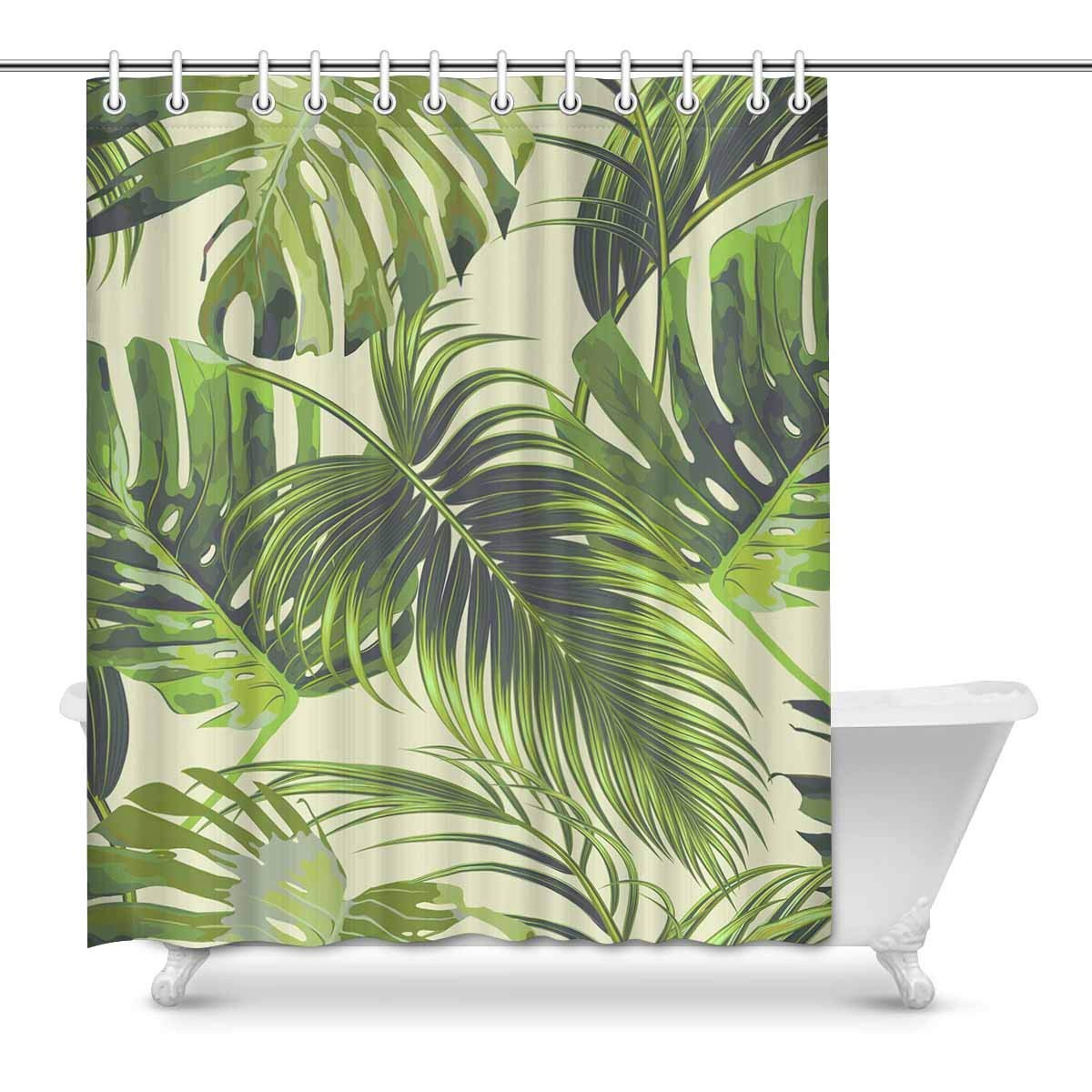 Gckg Tropical Palm Leaves Shower Curtain Jungle Leaf Floral Pattern Polyester Fabric Shower Curtain Bathroom Sets 60x72 Inches