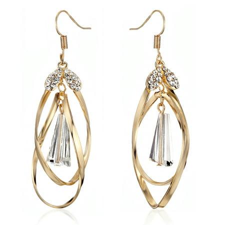 Gemini Women's Jewelry Infinity Twisted Knot Swarovski Crystal Long Dangle Pierced Ear Wire Earrings Gm146 ,Color: Yellow Gold