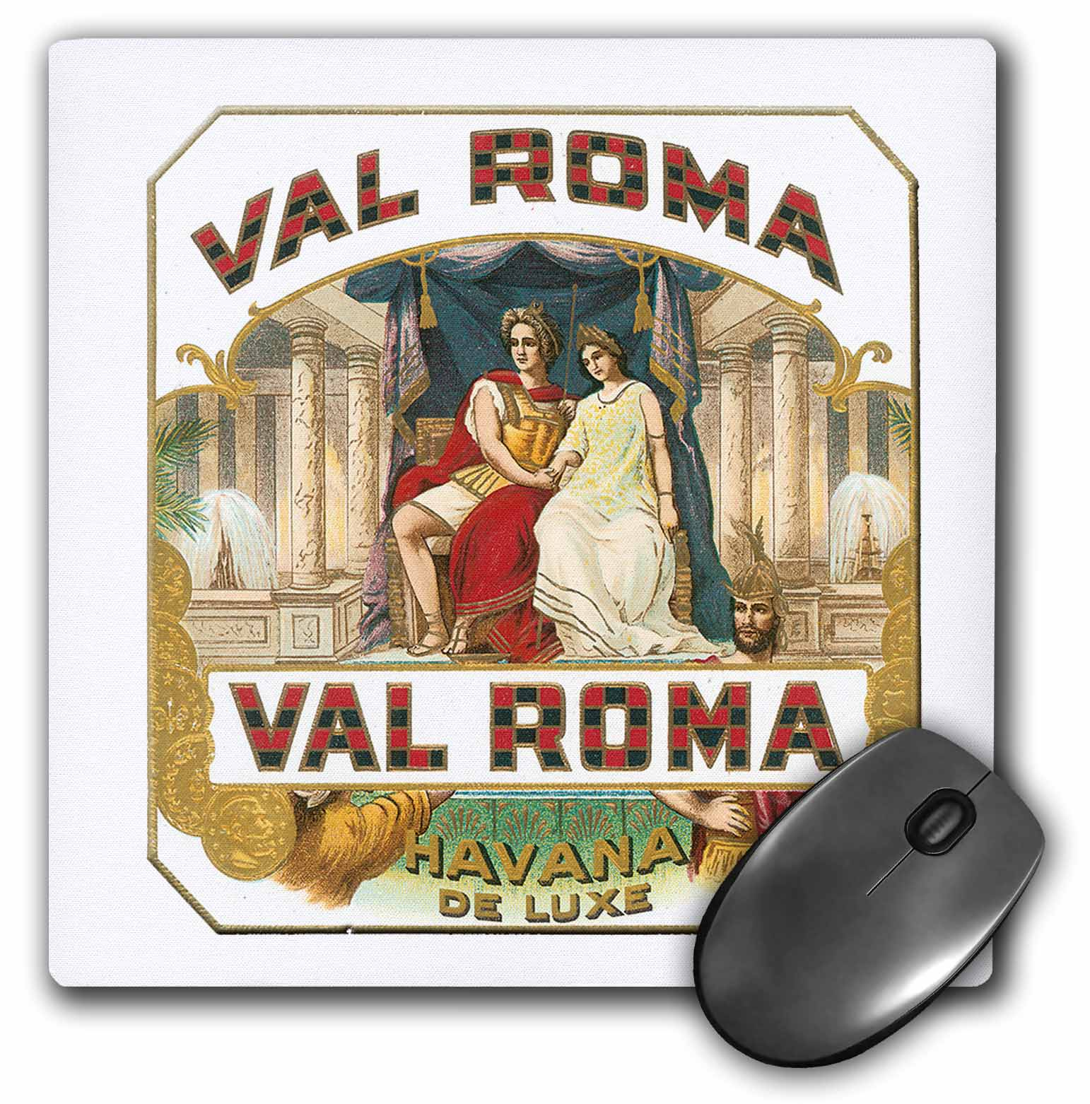 3dRose Val Roma Havana De Luxe Vintage Cuban Cigar Label Reproduction, Mouse Pad, 8 by 8 inches