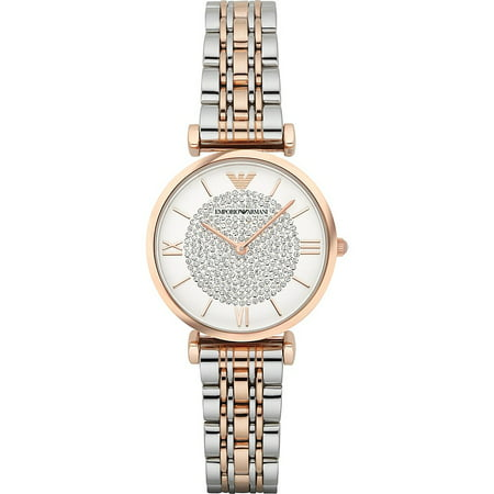 Emporio Armani Women's Retro Two-Tone Stainless Steel Quartz Watch AR1926 Bracelet Women Wrist Watch