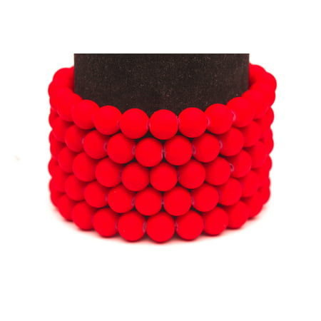 Frosted Glass Beads red Rubber-Tone Beads 6mm Round Sold Per Pkg of 3x32Inch (465 Beads)](Red Plastic Beads)