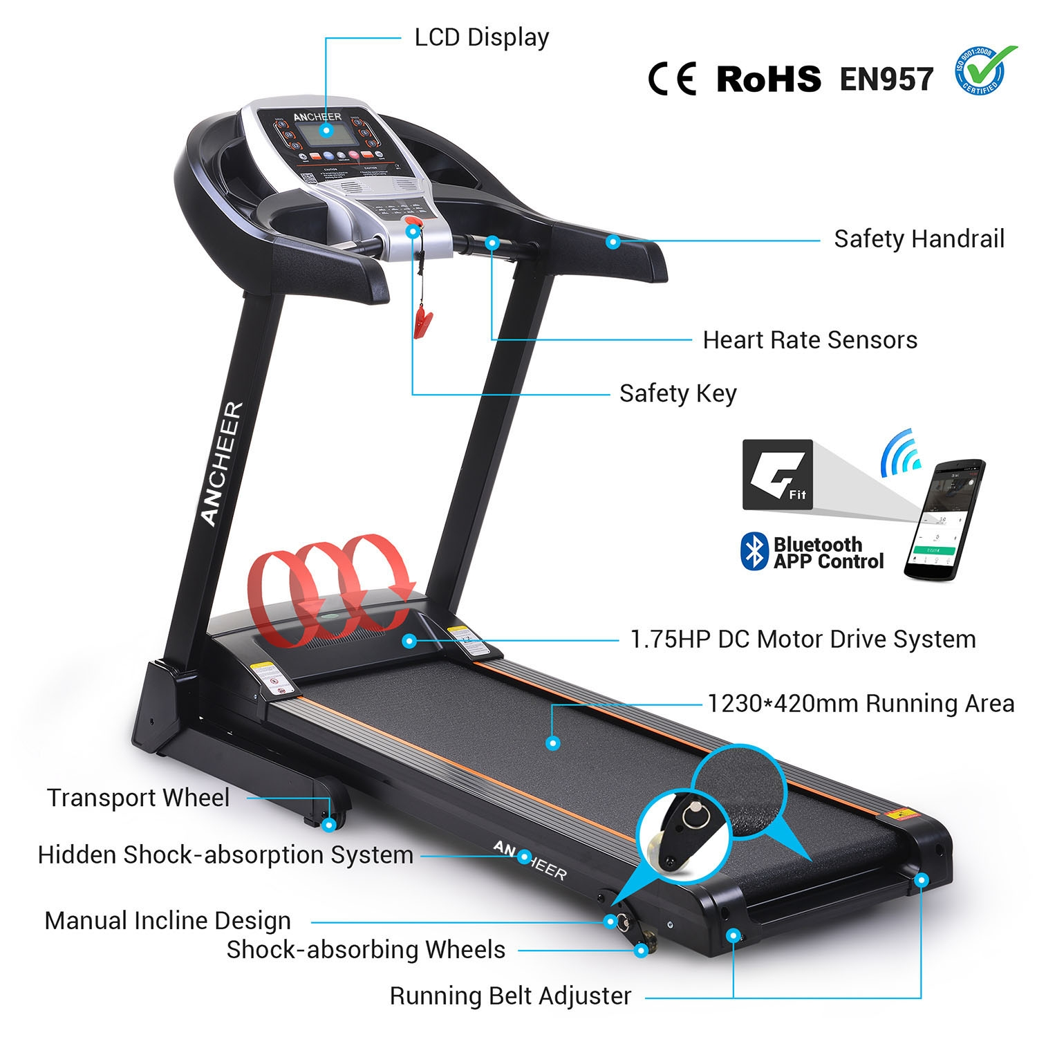 Ancheer 2.25hp Electric Folding Treadmill Portable Runnin...