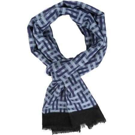 Sakkas Jiel Long Wide Classic Multi Colored Pattern UniSex Cashmere Feel Scarf - Blue -