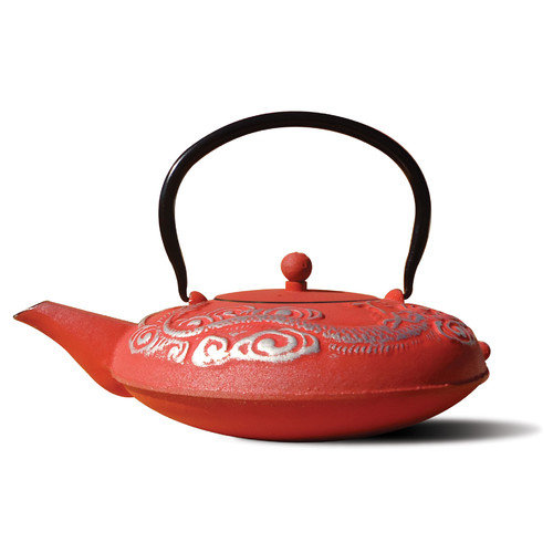 Old Dutch International 1014LR Tetsubin Nara Lacquered Red/Silver Cast Iron 40-oz Teapot