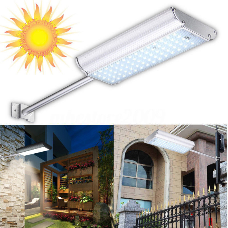 Solar 70 LED Motion Sensor Light Outdoor Garden Path Street Wall Lamp Waterproof, Warm White