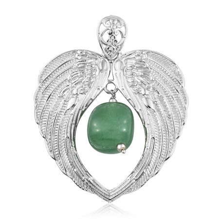 Boho Handmade Green Aventurine Platinum Bond Brass Drop Heart Pendant Necklace Jewelry for Women