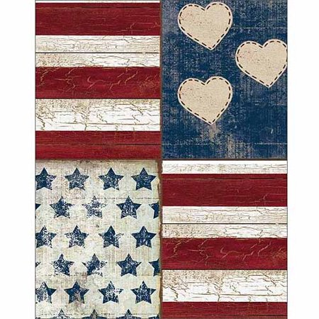 Four Panel Stars Stripes Hearts Americana Folk Primitive Wood Grain Painting Red & Blue Canvas Art by Pied Piper Creative (Wood Grain Plastic Panel)