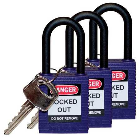 "Lockout Padlock,KA,Purple,1-3/4""H,PK3 BRADY 123340"